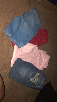 girls size 14 jeans and one pair of shorts 3.00 each