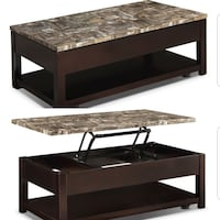 Sicily Coffee Table with Lift-Top and Casters – Brown BRAMPTON