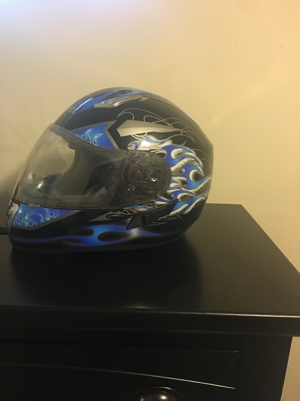 Blue and black full-face helmet