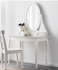 White wooden vanity table with mirror Coquitlam, V3J