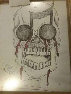 black and red skull sketch