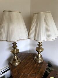 two brass base table lamps with white lampshades Burnaby, V5E 1H7