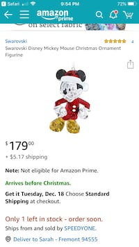 Micky mouse Swarovski ornament 2394 mi