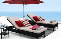 Modern Outdoor Pool Patio Furniture Adjustable One Single Chaise Lounge Chair with Two Beige Cushions South Pasadena