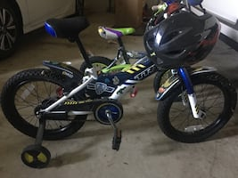Trek bike for boys with helmet