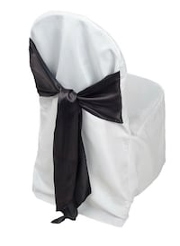 Chair cover with attached black satin sash Whitby, L1N