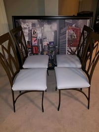 4 brown metal chairs reupholstered with grey vinyl Whitby, L1R 3G8