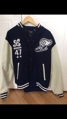white and blue letterman jacket