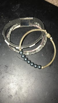Bracelet and black pearl bracelet