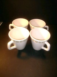three white ceramic mugs with saucers Calgary, T2A 1L3
