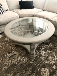 *Refinished* Round Glass Shabby chic light gray coffee table Nashua, 03064