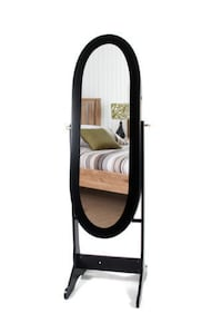 Mirrored Jewelry Cabinet Organizer with Stand -Black San Leandro