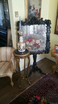 brown and white floral table lamp Montreal, H3R 3L4