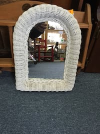 "$5 White Wicker Mirror 16"" x 12"" Rattan Mississauga"