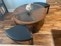 Glass & Wood coffee table with 2 stools