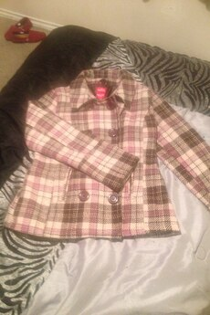 white, pink, and black plaid double breasted coat