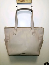 New FOSSIL Gray Leather Tote Handbag