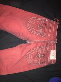 Red and white true religion jeans