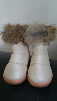 gray-and-brown fur boots