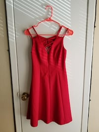 Guess Embossed Lace-Up Fit & Flare Dress