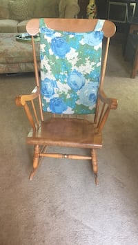 brown wooden blue-and-green fabric floral padded rocking armchair Baltimore, 21224