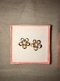 Tri color gold hawaiin plumeria earrings with cz Calgary, T3G 1P3
