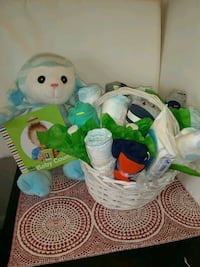round white wicker basket gift set