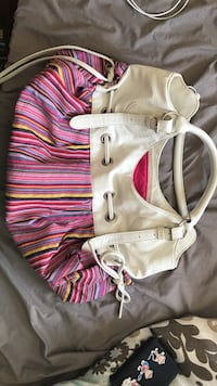 pink and white striped tote bag