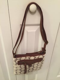 brown leather white floral lace crossbody bag