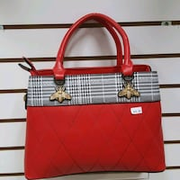 red and white leather tote bag Toronto, M3N 2G9