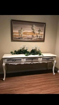 Buffet/side table/ entry table refinished in Antiq Mesquite, 75150