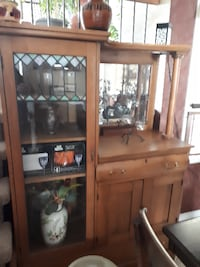 Stained glass pine cabinet 1920's Brampton