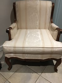 White and brown wooden armchair Montréal, H2X 2R6