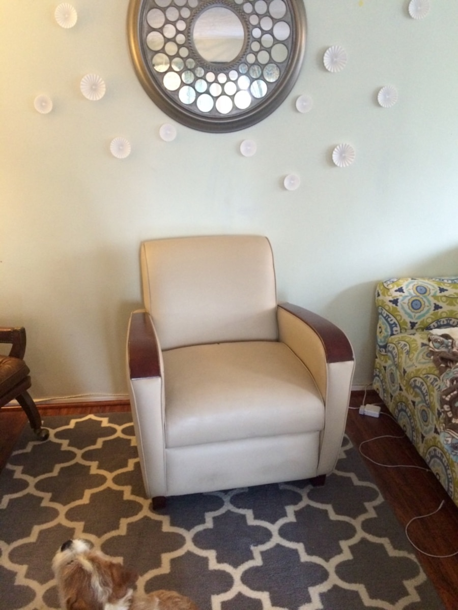Used Tan Leather And Wood Armchair In Washington