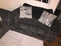 Navy blue suede sofas chairs with light grey rug Oceanside, 92058