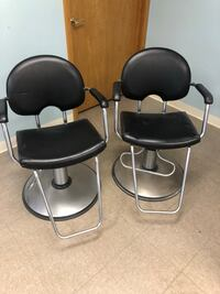 two black leather padded bar stools Frankenmuth, 48734