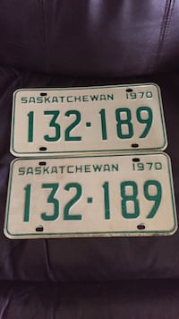 two white and green 132.189 license plates 2673 km