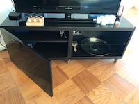 IKEA black TV stand with wheels