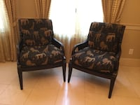 two brown wooden framed padded armchairs Charlotte, 28226
