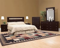 QUEEN BED,DRESSER,MIRROR,CHEST,2- SIDE TABLE FOR 599$