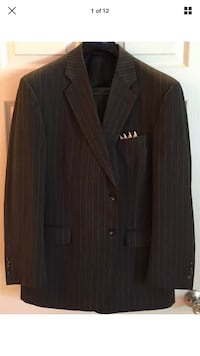 42R Gray 2 Button Pin Striped Kilburne And Finch Mens Suit, Coat & Pants Land O Lakes, 34638