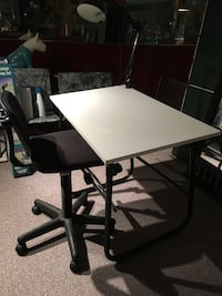 rectangular white wooden table with black metal base Laurys Station, 18059