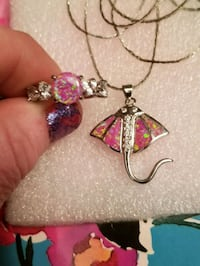 925 silver stingrays pink opal necklace andRingSet West Valley City, 84120