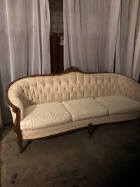 brown wooden framed white padded couch Prince George, V2N 3Z6