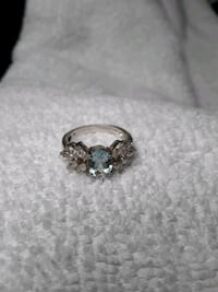 Silver ladies ring with stones