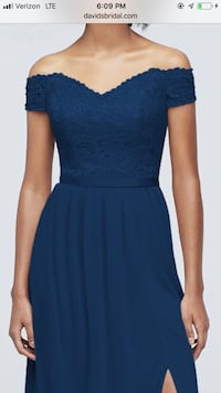 Off-the-Shoulder Lace and Mesh Bridesmaid Dress- New with tags Concord