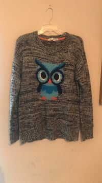 gray and teal owl printed sweater Richmond Hill, 31324