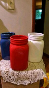 two red and blue glass jars Springfield, 65804
