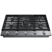 """SAMSUNG - 36"""" GAS COOKTOP - STAINLESS STEEL MODEL: NA36K6550TS Houston"""