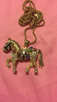 assorted gem stud gold-colored horse pendant chain necklace